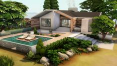 Sims 4 House Design, Sims House, Beachfront House, Casas The Sims 4, Cute Cottage, Sims 4 Build, Outdoor Retreat, Outdoor Furniture Sets, Outdoor Decor