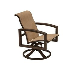 Tropitone Lakeside II Sling Swivel Rocking Chair Finish: Obsidian, Fabric: Sparkling Water