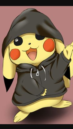 Pikachu pokemon in a hoodie. Pikachu Drawing, Pikachu Art, Pokemon Eevee, Pikachu Hoodie, Cute Pokemon Wallpaper, Cute Disney Wallpaper, Cute Cartoon Wallpapers, Cute Animal Drawings, Cute Drawings
