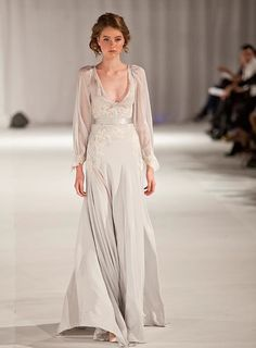 Wedding Dress Discoveries…Five swoon worthy new finds. Paolo Sebastien chiffon and lace oyster grey gown