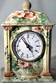 "Celee Evans Porcelain Study: Marbled Roses on 8"" Empire Clock"