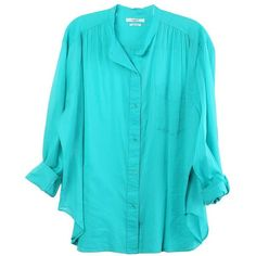 Lex Emerald Shirt ($165) ❤ liked on Polyvore featuring tops, blue long sleeve top, long sleeve shirts, extra-long-sleeve shirts, blue top and henley shirts