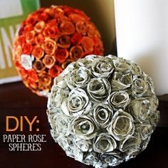 Make gorgeous paper rose decorative spheres from die cut card stock and book pages.