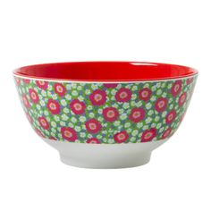 Melamine Bowl Two Tone with Peony Print and Red Inner - Rice A/S
