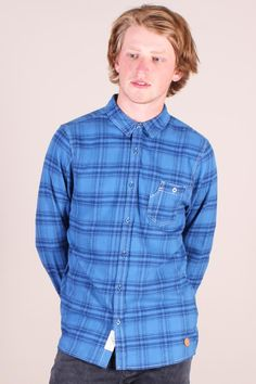 http://www.foxandfeather.co.uk/collections/mens-new-in/products/native-youth-washed-indigo-check-shirt  Native Youth Washed Indigo Shirt. Slim fit plaid shirt.