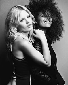 The iconic babes, Georgia May Jagger + Tina Kunakey wearing Tina Kunakey, Georgia May Jagger, Girls Time, Street Culture, Afro, Long Hair Styles, Elegant, Beauty, Collection