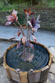 #Copper #sculpture by #sculptor Lynn Mahoney titled: 'Copper Lily (Water Fountain Feature statues/sculpture)'. #LynnMahoney