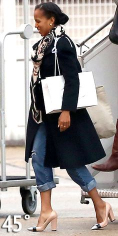Chic but casual with comfy shoes and cropped jeans on Kerry Washington