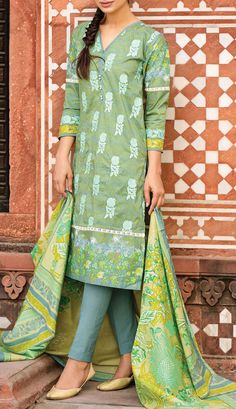 Buy Green #Embroidered #Cotton Lawn Dress by Khaadi 2016 Contact: 702-7513523 Email: info@pakrobe.com Skype: PakRobe