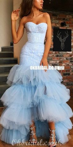 Sweetheat High-low Sexy Mermaid Backless Tulle Prom Dresses, FC4131#prom #promdresses #2021prom #eveningdresses #longpromdress #fashiondresses #promdress Light Blue Homecoming Dresses, Prom Dresses Long Pink, Pretty Prom Dresses, Simple Prom Dress, Formal Dresses For Teens, Tulle Prom Dress, Mermaid Prom Dresses, Party Dresses For Women, Strapless Dress Formal