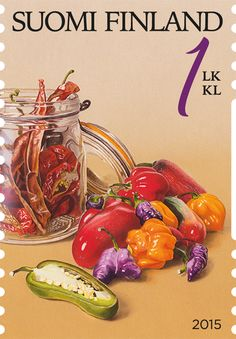 """""""Puutarhan antimia, chilis"""" (gifts from garden) stamp 2015 / Ossi Hiekkala… Old Stamps, Envelope Art, Stamp Collecting, Postage Stamps, Vintage Posters, Finland, Watercolor Art, Flora, Stuffed Peppers"""