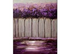 ORIGINAL Abstract Contemporary Blooming Trees by OsnatFineArt