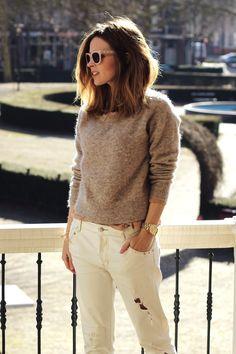 Sweater, H t-shirt, Zara boyfriend jeans, Michael Kors watch, Cooee bracelet and Jimmy Choo sunglasses)