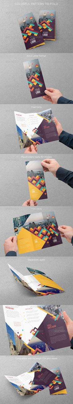 Colorful Pattern Trifold  #InDesign #letter #pattern • Click here to download ! http://graphicriver.net/item/colorful-pattern-trifold/7909703?ref=pxcr