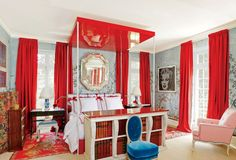 chambre rouge rideaux - Google Search