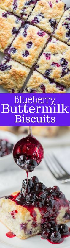 Blueberry Buttermilk Biscuits with a warm Blueberry Sauce ~ from www.savingdessert...