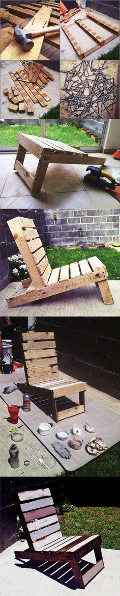20 Brilliant DIY Pallet Furniture Design Ideas to Inspire You - diy pallet creations Pallet Crafts, Diy Pallet Projects, Wood Projects, Woodworking Projects, Pallet Chair, Diy Chair, Pallet Furniture, Palette Deco, Pallet Creations