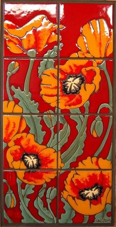 """Another person wrote, """"Hand Glazed Orange and Red Ceramic Tile Poppy by CarlyQuinnDesigns"""" Poppies, too! Azulejos Art Nouveau, Art Nouveau Tiles, Clay Tiles, Ceramics Tile, Art Tiles, Tuile, Ceramic Wall Art, Red Poppies, Poppies Art"""