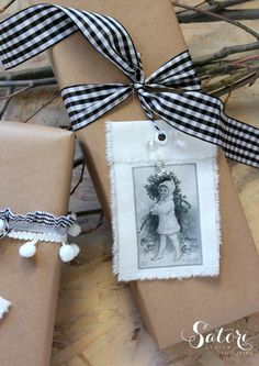 DIY Vintage Christmas Gift Tags- made with cotton canvas and iron on transfer printables