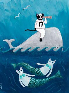 Sailor and Mermaids at Sea Original Cat Folk Art Painting by KilkennycatArt