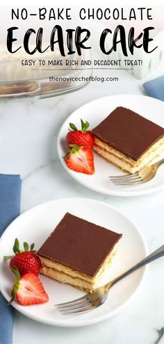 The best dessert recipe to make this summer! This No Bake Chocolate Eclair Cake is made with graham cracker layers, creamy pudding layers, and a layer of rich chocolate ganache. It is an impressive dessert that tastes even better than the traditional pastry! Save this pin!