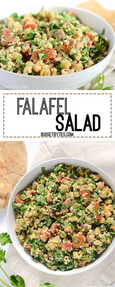 This falafel salad is packed with fresh vegetables, drenched with a tangy tahini dressing, and is 100% vegan. Step by step photos. /budgetbytes/