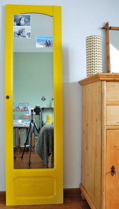 old door turned full length mirror Home Staging, Diy Home Decor, Room Decor, White Appliances, My Room, Painted Furniture, Tall Cabinet Storage, New Homes, Sweet Home