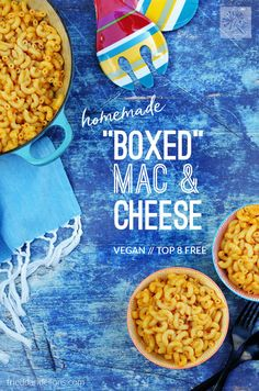 This Homemade Vegan Boxed Mac and Cheese comes together in the same amount of time as the store bought version! Can be made Top 8 Free! #vegan #top8free #veganmacandcheese