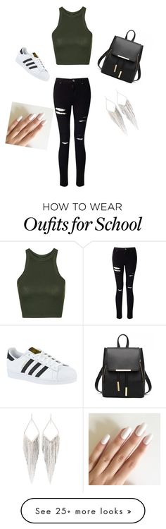 """School day"" by zahryaduffy-1 on Polyvore featuring Topshop, Miss Selfridge, adidas and Jules Smith"