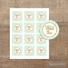 Mint Green and Gold Confetti Printable Favor Tags by laprintables