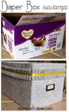 Not for a nursery right now. just storage Upcycled Diaper Box Organizational Crate from Too Much Time on My Hands 10 copy Baby Crafts, Home Crafts, Diy Deco Rangement, Cardboard Crafts, Cardboard Boxes, Craft Projects, Projects To Try, Baby Diy Projects, Craft Ideas