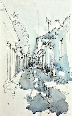 Frank Ching sketch uses diluted watercolour paints to highlight and draw attention to specific areas of the image. A contour line drawing overlays the colour.