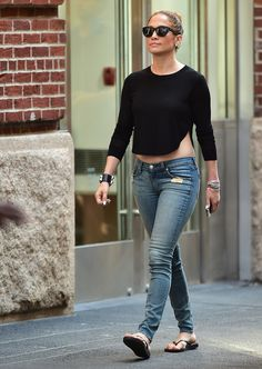 J.Lo takes a walk in New York on June 30, 2014.   - Cosmopolitan.com