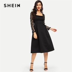 b70bdfdd5e6f SHEIN Going Out 3D Applique Boxed Pleated Solid Square Neck Pleated Knee  Length Dress 2018 Autumn