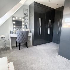 Such a beautiful dressing room from featuring our Diaz Hollywood Mirror. Makeup Mirror with Lights Home, Bedroom Makeover, Home Bedroom, Bedroom Design, Luxurious Bedrooms, House Rooms, Stylish Bedroom, Girl Bedroom Decor, Dream Rooms