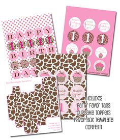 cupcake party printables, animal print cupcake party, printable party, printable party decor from party box design. giraffe print!!!!!!