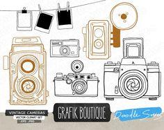 Vintage Camera Vector Clip Art #vintage #camera #clipart