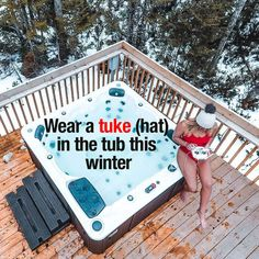 Great to feel the warmth of hot tub bubbly water against the cold winter air but make sure you wear a hat.