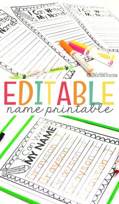 Check out these editable name printables that are personalized and perfect for preschoolers and young students who are learning name recognition, handwriting and spelling! Kids love these printable name sheets so they can practice writing their own name over and over! #namerecognition #handwriting #writing #preschool #teachingkids #teachpreschool