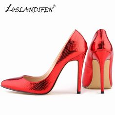 LOSLANDIFEN Sexy Pointed Toe High Heels Women Pumps Crocodile Shoes New  Spring Design Wedding Shoes Pumps cfeaa5a415f0