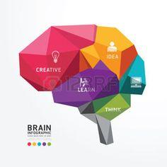 インフォグラフィック: ベクトル脳設計概念ポリゴン スタイル、抽象的なベクトル イラスト  イラスト・ベクター素材