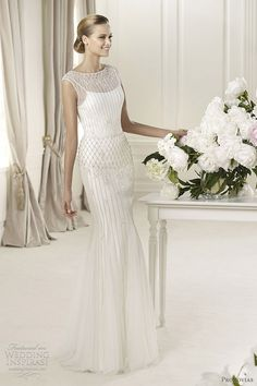 pronovias wedding dresses 2013 - Delicia sleeveless bateau neckline sheath wedding gown #weddingdress #weddings #bridal