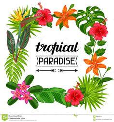 定型化された葉や花でトロピカルパラダイスフレーム。 ストックベクター - イメージ:69646510