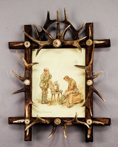 black forest antler picture frame with print by geilfus