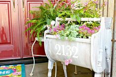 Portable, Weathered Sewing Cabinet Planter