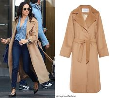 "Meghan Markle, in the ""Manuela"" style, camel -hair coat, by Max Mara. Max Mara Jacke, Meghan Markle Coat, Meghan Markle Outfits, Max Mara Coat, Camel Coat Outfit, Mantel Beige, Blazers, Mode Mantel, Langer Mantel"