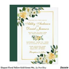 Shop Elegant Floral Yellow Gold Hunter Green Wedding Invitation created by PearlBay. Personalize it with photos & text or purchase as is! Elegant Wedding Invitations, Watercolor Wedding Invitations, Wedding Invitation Cards, Invitation Ideas, Flower Invitation, Invitation Wording, Wedding Programs, Invitation Design, Wedding Stationery