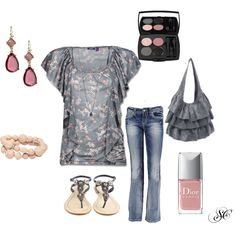 Grey and pink, created by stephcollins89 on Polyvore