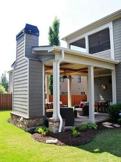 Love the idea that this patio gives you the option of being outside when it rains.