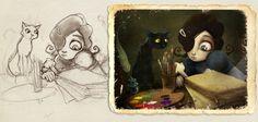 """Lápiz y color de Carmesina y Gato Negro. Para cartel promocional de """"La inspiración dormida"""""""